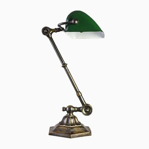 Vintage Brass Bankers Lamp from Dugdills