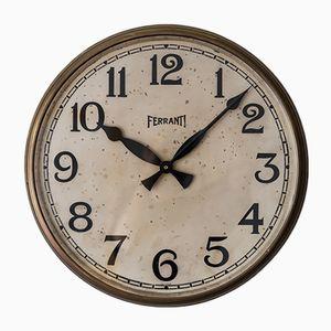 Brass Wall Clock from Ferranti, 1930s