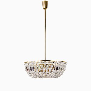 Viennese Brass and Crystal Hanging Lamp, 1960s