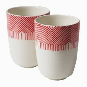 Tasses Little by Little en Porcelaine par Mãdãlina Teler pour De Ceramică, Set de 2