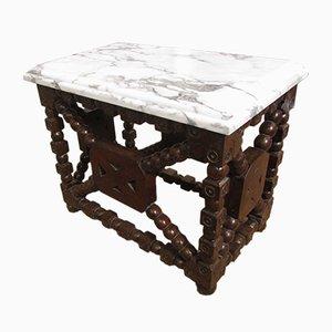Mesa auxiliar antigua de madera y mármol