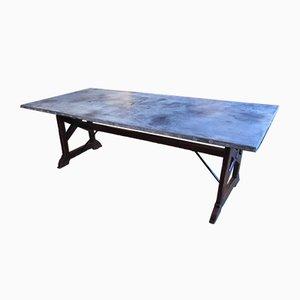Antiker französischer Mensa-Tisch aus Zink & Pinienholz