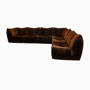 Mid-Century Chocolate Brown Velvet Modular Sofa, 1970s
