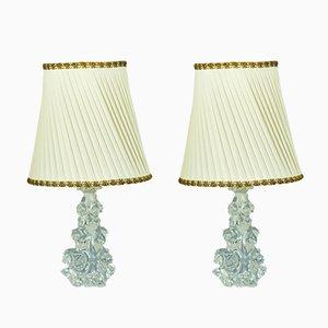 Lámparas de mesa de cristal de Charles Schneider, años 60. Juego de 2