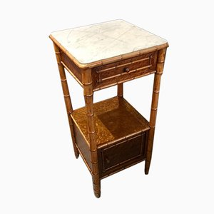 Antique Faux Bamboo & Marble Nightstand