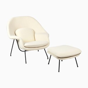 Mid-Century Womb Armchair with Ottoman by Eero Saarinen for Knoll International