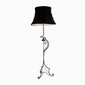 Antique Wrought Iron Floor Lamp with Fur Shade