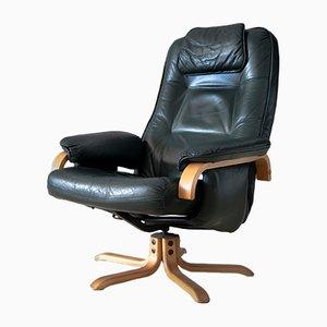 Vintage Danish Green Leather Swivel Chair, 1970s