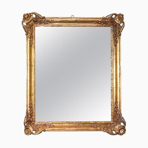 Espejo antiguo tallado y dorado, década de 1850