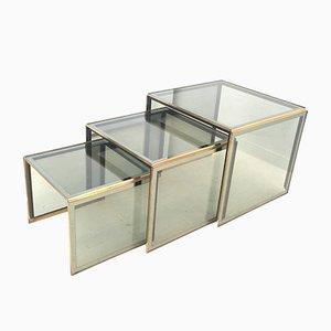 Mesas nido italianas de vidrio ahumado, años 80