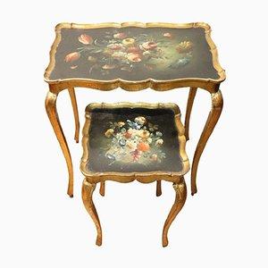 Tavolini ad incastro vintage in legno dipinto, anni '50