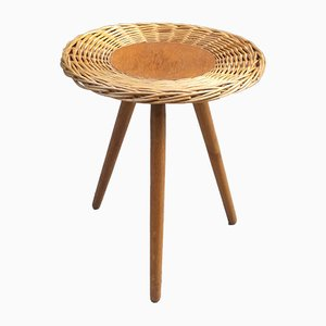 Rattan Tripod Coffee or End Table, 1960s