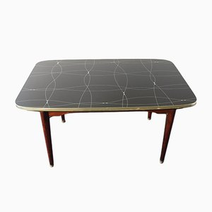 Mid-Century Extendable Table with Black and Gold Painted Glass, 1950s