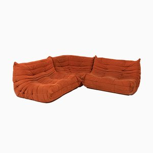 Sofá modular de tres piezas naranja de Michel Ducaroy para Ligne Roset