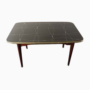 Mid-Century Folding Table with Black and Gold Painted Glass, 1950s