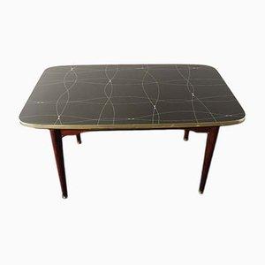 Table Pliante Mid-Century avec Verre Peint en Noir et Or, 1950s