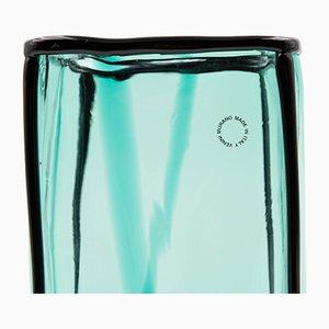 Jarrón vintage de vidrio soplado azul de Fulvio Bianconi para Venini, 2002