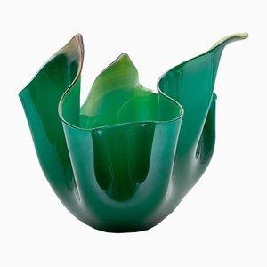 Centrotavola vintage in vetro di Murano verde e giallo di Fulvio Bianconi per Venini