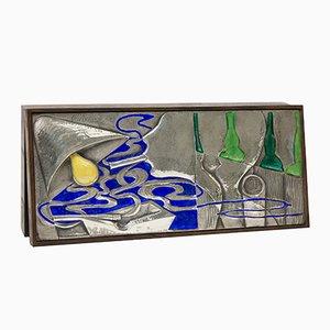 Caja de palisandro y plata esmaltada de Ottaviani, años 70
