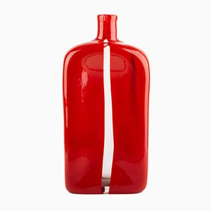 Vintage Red Mouth Blown Glass Vase by Toni Zuccheri for Venini, 1960s