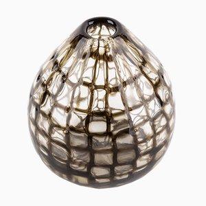 Ockerbraune geblasene Murrine Vase aus Muranoglas von Tobia Scarpa für Venini, 1950er