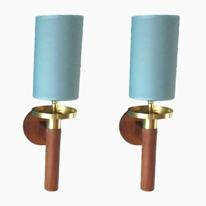 Danish Teak and Brass Sconces, 1960, Set of 2