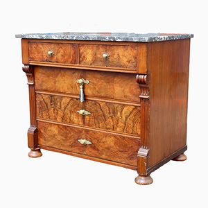 Small Antique French Walnut Commode with Marble Top
