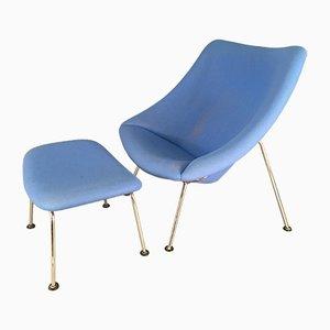 Mid-Century Oyster Chair mit Fußhocker von Pierre Paulin für Artifort
