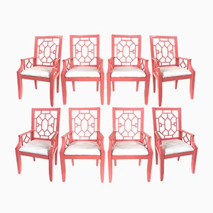 Chinoiserie Dining Chairs, 1980s, Set of 8