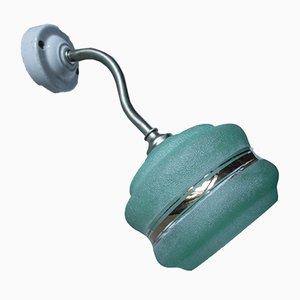 Lámpara de pared de vidrio verde, años 40