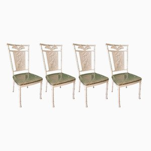 Metal & Faux Bamboo Palm Tree Chairs, 1970s, Set of 4