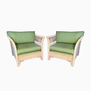 Wicker Tuxedo Chairs by Henry Link for Lexington, 1980s, Set of 2