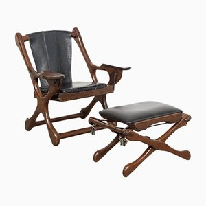 Mid-Century Swing Armchair with Ottoman by Don Shoemaker for Señal, S.A.