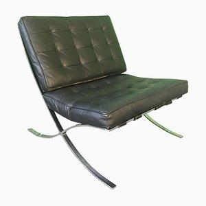Chaise Barcelona en Cuir Noir par Ludwig Mies van der Rohe, 1970s