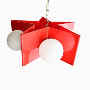 Vintage Red Acrylic Star Pendant Lamp