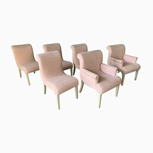 Pink Tufted Dining Chairs from Preview Furniture, 1980s, Set of 6