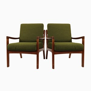 Mid-Century 169 Senator Lounge Chairs by Ole Wanscher for Poul Jeppesens Møbelfabrik, Set of 2