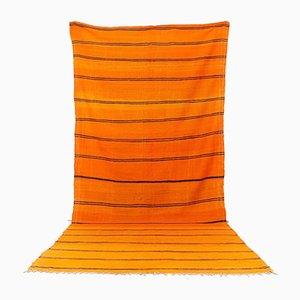 Großer marokkanischer Vintage Kelim Wollteppich in Orange