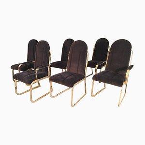 Hollywood Regency Esszimmerstühle aus Samt & Messing von Chromcraft, 1980er, 6er Set