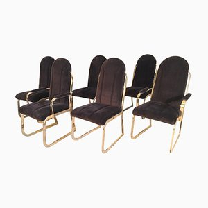 Hollywood Regency Velvet & Brass Dining Chairs from Chromcraft, 1980s, Set of 6