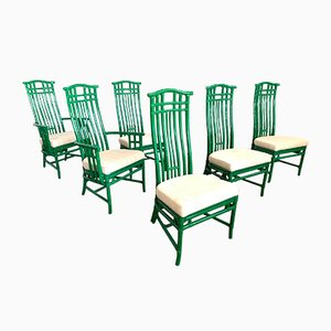 Bamboo Pagoda Dining Chairs from McGuire, 1970s, Set of 6
