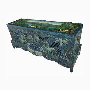 Baule vintage in legno intagliato e dipinto a mano