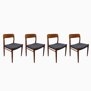 Teak Model 75 Chairs by Niels Otto (N. O.) Møller, 1960s, Set of 4