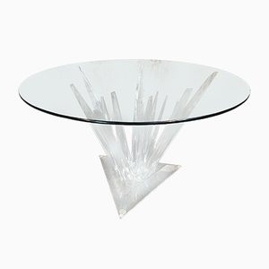 Tavolo da pranzo Stalagmite in vetro e lucite, anni '80