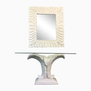 Hollywood Regency Style Sculptural Palm Leaf Console Table and Mirror, 1980s