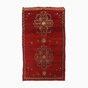 Roter marokkanischer Vintage Berber Teppich