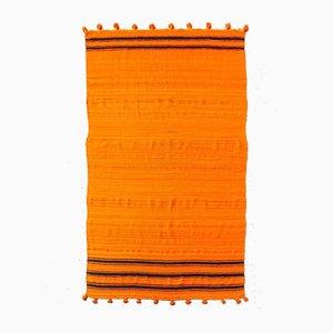 Marokkanischer Vintage Kelim Wollteppich in Orange