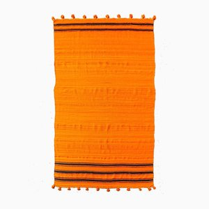 Vintage Moroccan Orange Wool Kilim Rug