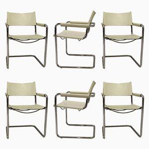 Chaises avec Structure Tubulaire Métallique Chromée en Cuir Blanc par Marcel Breuer pour Matteo Grassi, 1960s, Set de 6