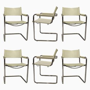 White Leather Cantilever Chairs by Marcel Breuer for Matteo Grassi, 1960s, Set of 6